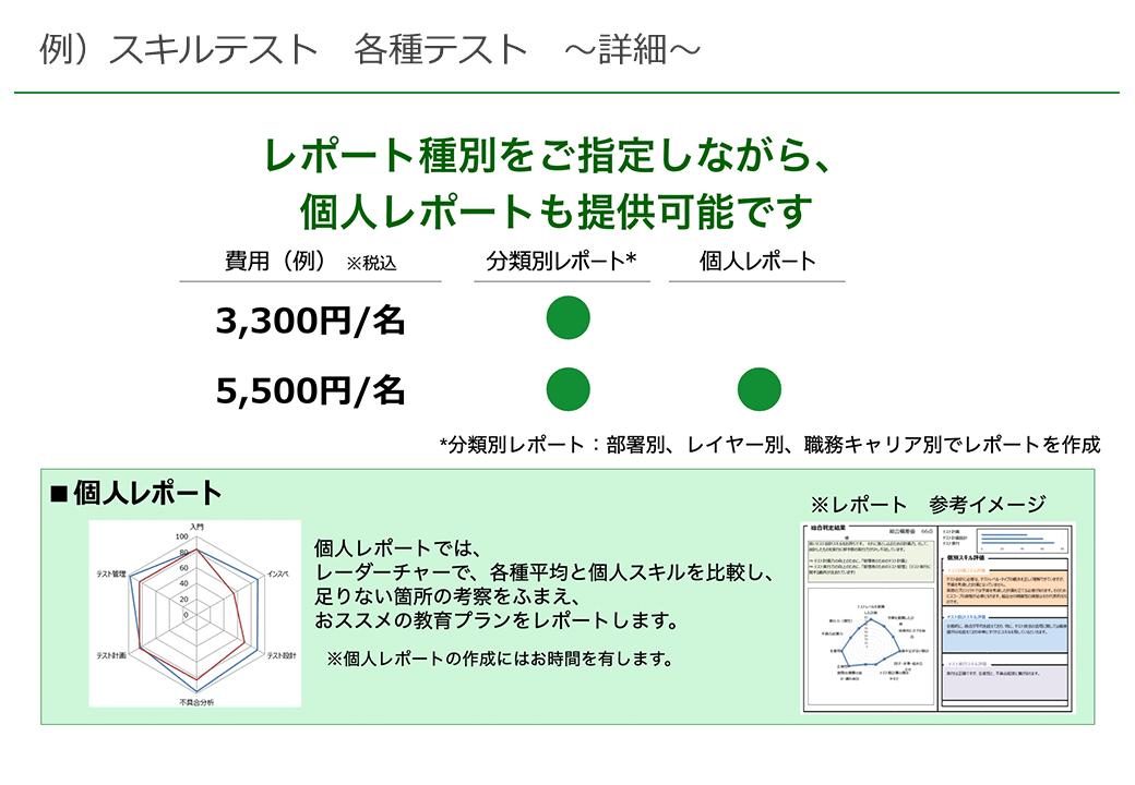 例)スキルテスト 各種テスト 〜詳細〜